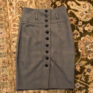 Gray pencil skirt thick belt loops. Button up S.